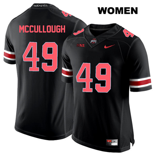 Liam McCullough Stitched Womens Black Nike Ohio State Buckeyes Authentic Red Font no. 49 College Football Jersey - Liam McCullough Jersey