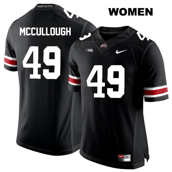 Liam McCullough Stitched Womens Nike Black White Font Ohio State Buckeyes Authentic no. 49 College Football Jersey - Liam McCullough Jersey