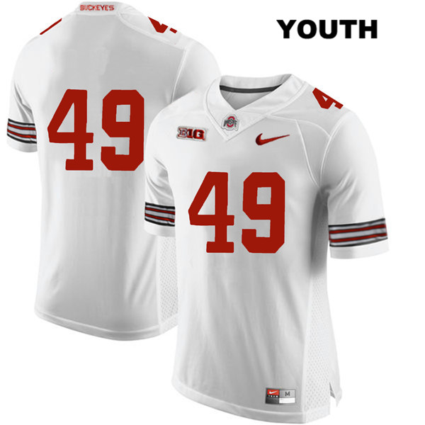 Liam McCullough Stitched Youth White Ohio State Buckeyes Nike Authentic no. 49 College Football Jersey - Without Name - Liam McCullough Jersey