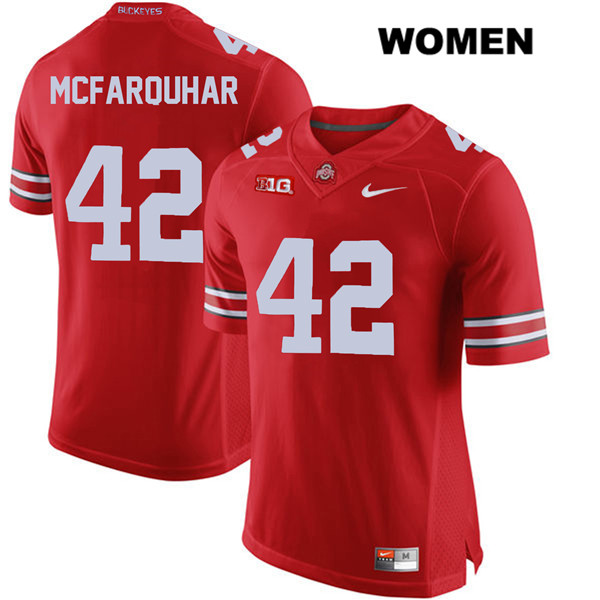 Lloyd McFarquhar Womens Red Stitched Ohio State Buckeyes Nike Authentic no. 42 College Football Jersey - Lloyd McFarquhar Jersey