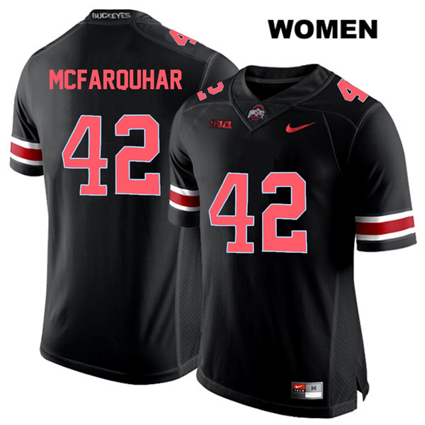 Lloyd McFarquhar Womens Stitched Black Ohio State Buckeyes Red Font Authentic Nike no. 42 College Football Jersey - Lloyd McFarquhar Jersey