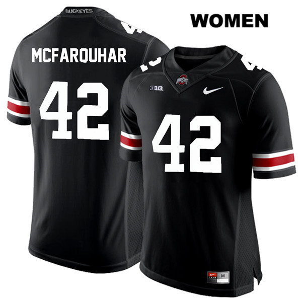 Lloyd McFarquhar Stitched Womens Nike Black White Font Ohio State Buckeyes Authentic no. 42 College Football Jersey - Lloyd McFarquhar Jersey
