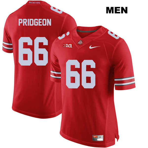 Malcolm Pridgeon Mens Red Stitched Ohio State Buckeyes Nike Authentic no. 66 College Football Jersey - Malcolm Pridgeon Jersey