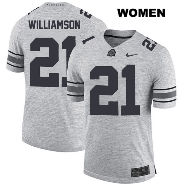 Marcus Williamson Womens Gray Nike Ohio State Buckeyes Authentic Stitched no. 21 College Football Jersey - Marcus Williamson Jersey