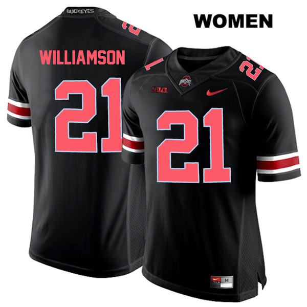 Marcus Williamson Stitched Womens Red Font Black Ohio State Buckeyes Nike Authentic no. 21 College Football Jersey - Marcus Williamson Jersey