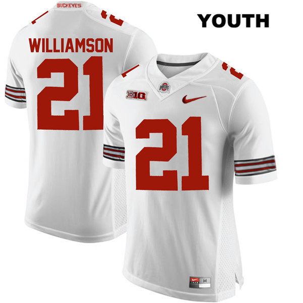 Marcus Williamson Stitched Youth White Ohio State Buckeyes Nike Authentic no. 21 College Football Jersey - Marcus Williamson Jersey