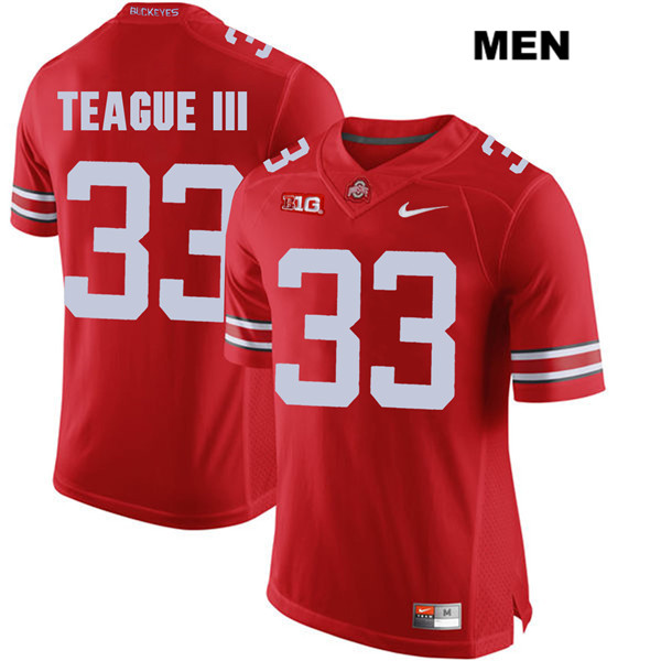 Master Teague Mens Stitched Red Ohio State Buckeyes Authentic Nike no. 33 College Football Jersey - Master Teague Jersey