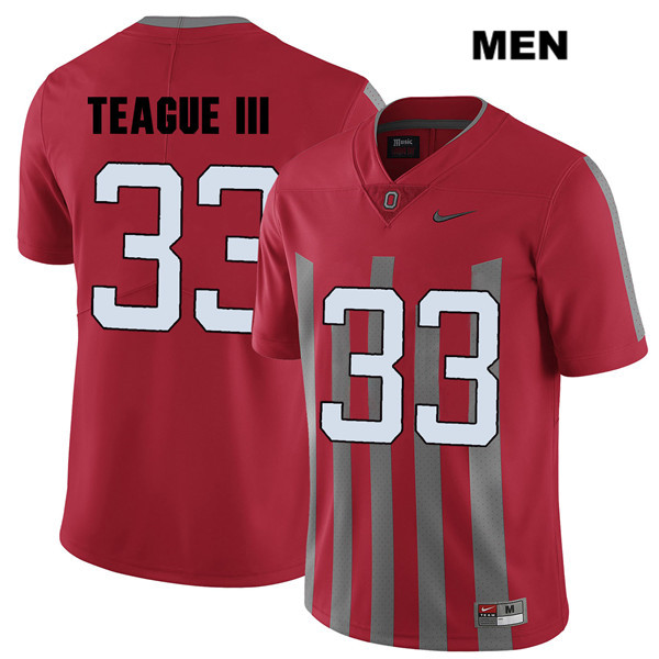Master Teague Stitched Mens Red Ohio State Buckeyes Elite Nike Authentic no. 33 College Football Jersey - Master Teague Jersey