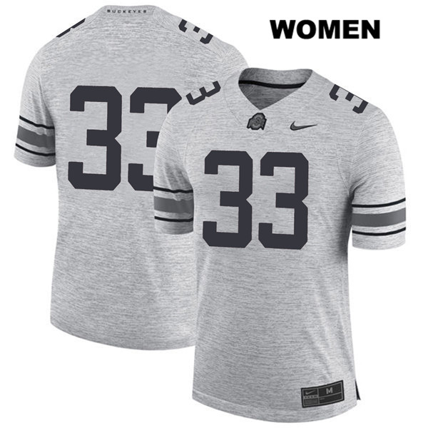 Master Teague Stitched Womens Gray Ohio State Buckeyes Authentic Nike no. 33 College Football Jersey - Without Name - Master Teague Jersey