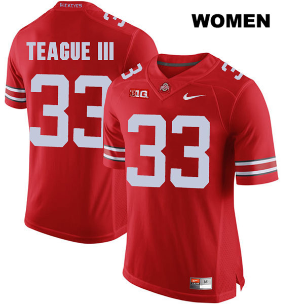 Master Teague Womens Red Ohio State Buckeyes Stitched Authentic Nike no. 33 College Football Jersey - Master Teague Jersey