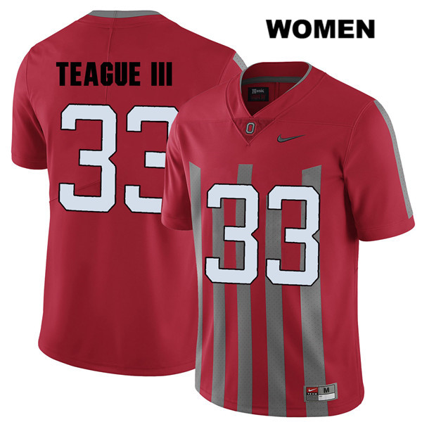 Master Teague Womens Nike Stitched Red Ohio State Buckeyes Elite Authentic no. 33 College Football Jersey - Master Teague Jersey