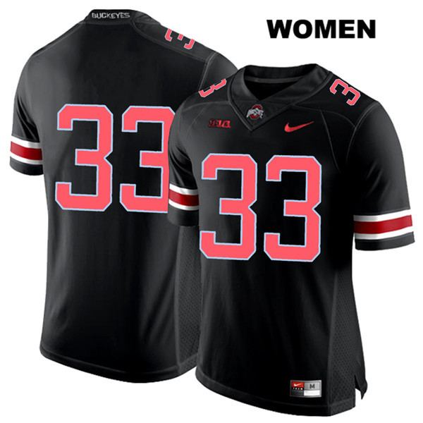 Master Teague Nike Womens Black Stitched Ohio State Buckeyes Authentic Red Font no. 33 College Football Jersey - Without Name - Master Teague Jersey