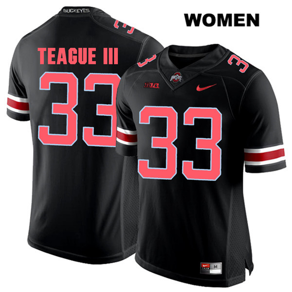 Master Teague Red Font Womens Black Stitched Ohio State Buckeyes Authentic Nike no. 33 College Football Jersey - Master Teague Jersey