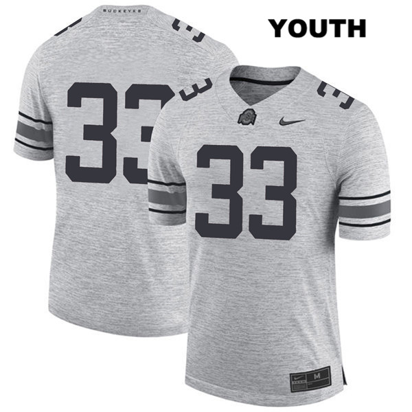 Master Teague Youth Stitched Gray Nike Ohio State Buckeyes Authentic no. 33 College Football Jersey - Without Name - Master Teague Jersey