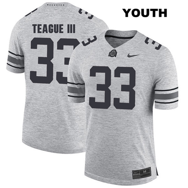 Master Teague Youth Gray Ohio State Buckeyes Stitched Authentic Nike no. 33 College Football Jersey - Master Teague Jersey