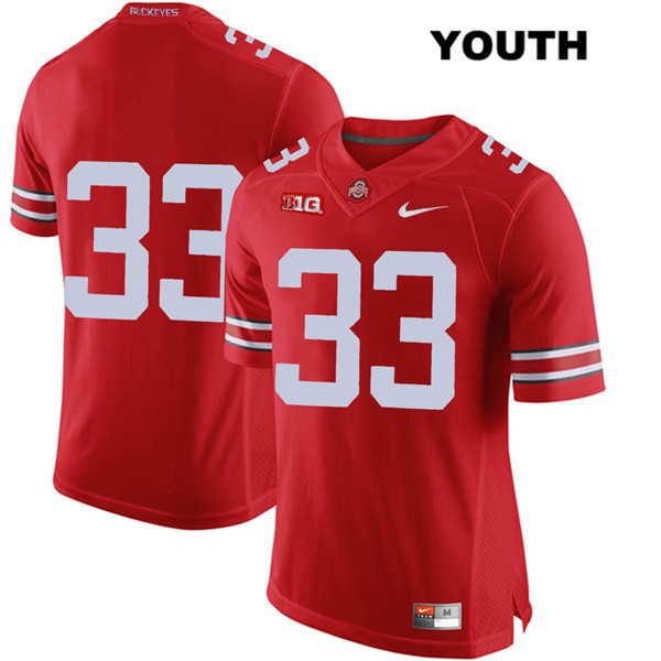 Master Teague Youth Nike Red Stitched Ohio State Buckeyes Authentic no. 33 College Football Jersey - Without Name - Master Teague Jersey