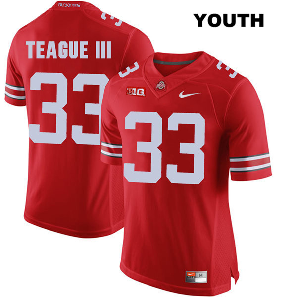 Master Teague Stitched Youth Nike Red Ohio State Buckeyes Authentic no. 33 College Football Jersey - Master Teague Jersey