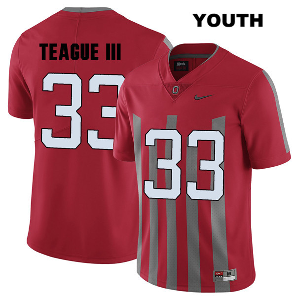 Master Teague Nike Youth Red Ohio State Buckeyes Stitched Authentic Elite no. 33 College Football Jersey - Master Teague Jersey