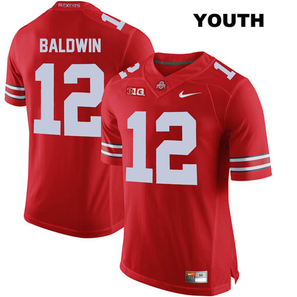 Stitched Matthew Baldwin Nike Youth Red Ohio State Buckeyes Authentic no. 12 College Football Jersey