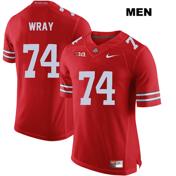 Max Wray Mens Red Stitched Nike Ohio State Buckeyes Authentic no. 74 College Football Jersey