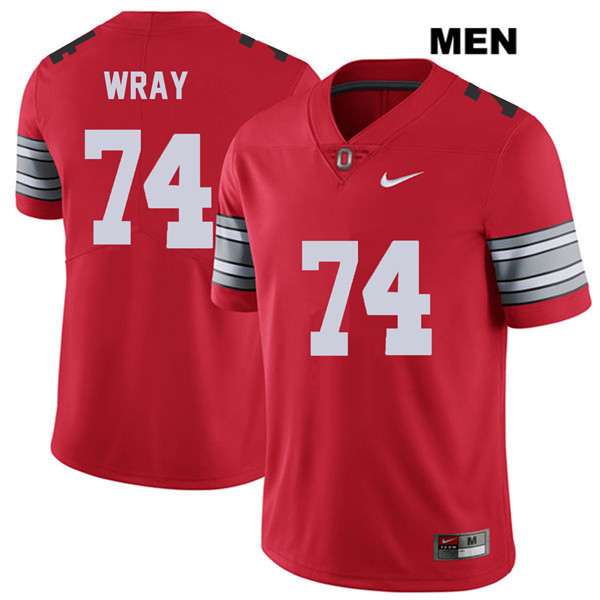 Stitched Max Wray Mens Red 2018 Spring Game Ohio State Buckeyes Authentic Nike no. 74 College Football Jersey