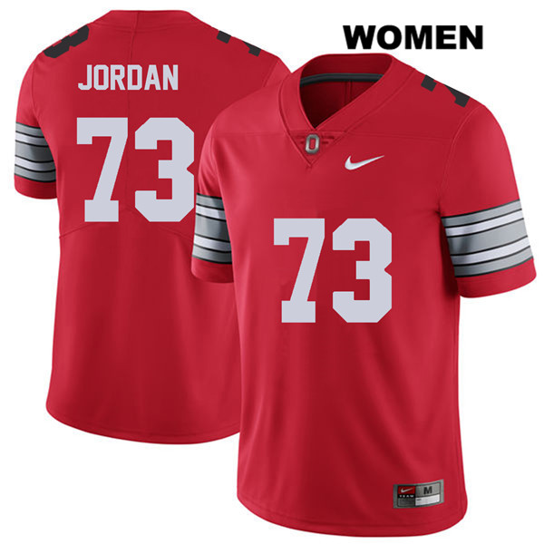 Michael Jordan Womens Stitched Red Ohio State Buckeyes 2018 Spring Game Authentic Nike no. 73 College Football Jersey - Michael Jordan Jersey