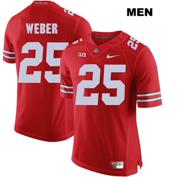 Mike Weber Mens Nike Red Stitched Ohio State Buckeyes Authentic no. 25 College Football Jersey - Mike Weber Jersey
