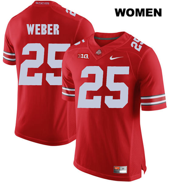 Mike Weber Womens Red Stitched Ohio State Buckeyes Nike Authentic no. 25 College Football Jersey - Mike Weber Jersey