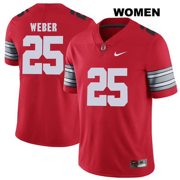 2018 Spring Game Mike Weber Womens Red Stitched Ohio State Buckeyes Authentic Nike no. 25 College Football Jersey - Mike Weber Jersey