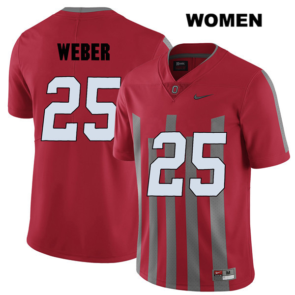 Mike Weber Elite Stitched Womens Red Nike Ohio State Buckeyes Authentic no. 25 College Football Jersey - Mike Weber Jersey