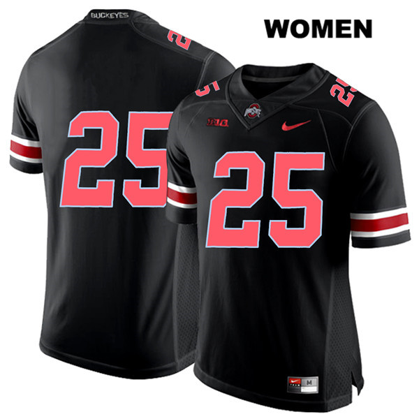 Mike Weber Stitched Womens Black Ohio State Buckeyes Nike Authentic Red Font no. 25 College Football Jersey - Without Name - Mike Weber Jersey