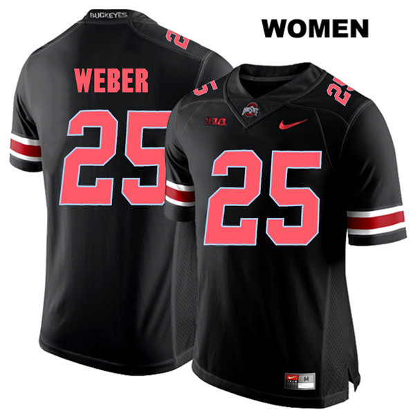 Mike Weber Nike Womens Black Ohio State Buckeyes Authentic Red Font Stitched no. 25 College Football Jersey - Mike Weber Jersey