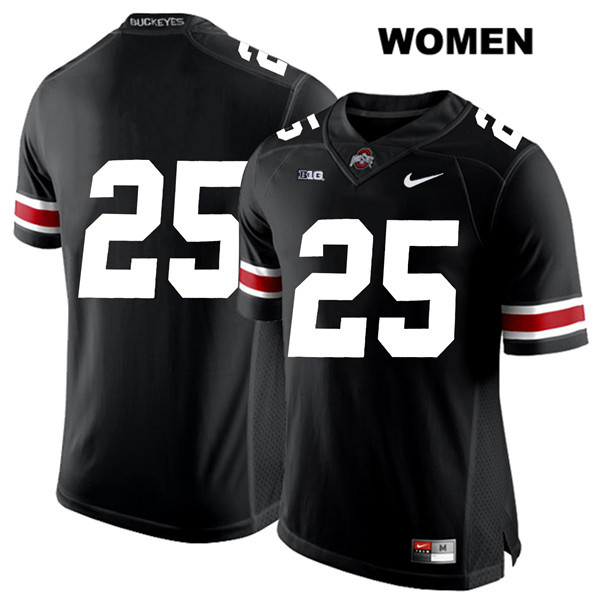 Mike Weber Stitched Womens Black Ohio State Buckeyes White Font Authentic Nike no. 25 College Football Jersey - Without Name - Mike Weber Jersey