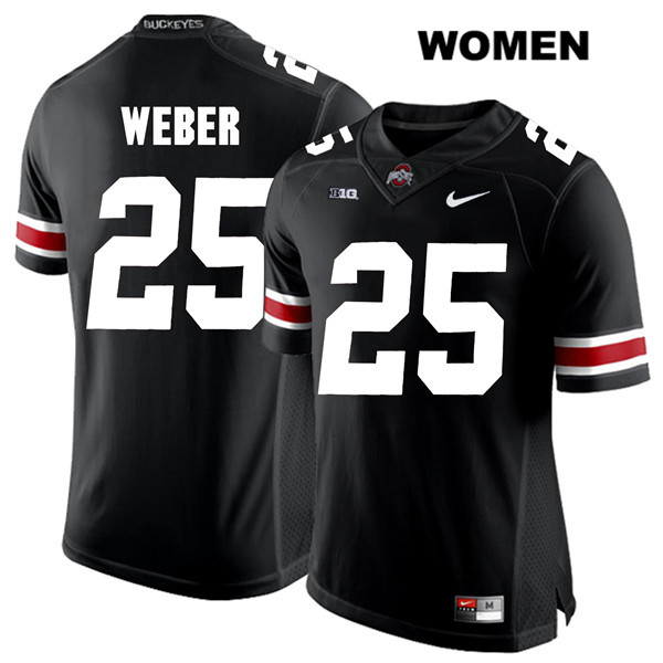 Mike Weber Womens Nike Black Ohio State Buckeyes Authentic White Font Stitched no. 25 College Football Jersey - Mike Weber Jersey