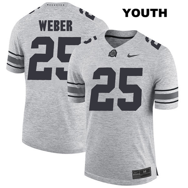 Mike Weber Stitched Youth Gray Ohio State Buckeyes Nike Authentic no. 25 College Football Jersey - Mike Weber Jersey