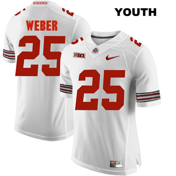 Mike Weber Stitched Youth White Ohio State Buckeyes Nike Authentic no. 25 College Football Jersey - Mike Weber Jersey