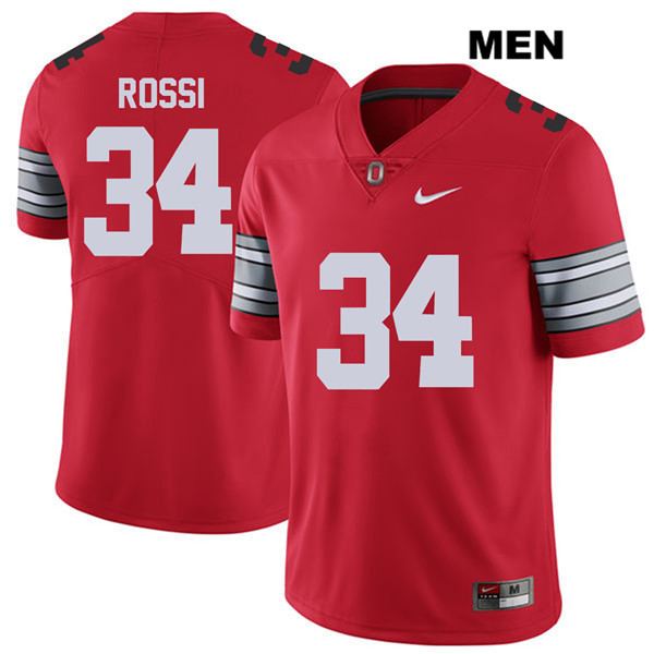Mitch Rossi Mens Red Nike Ohio State Buckeyes Stitched Authentic 2018 Spring Game no. 34 College Football Jersey - Mitch Rossi Jersey