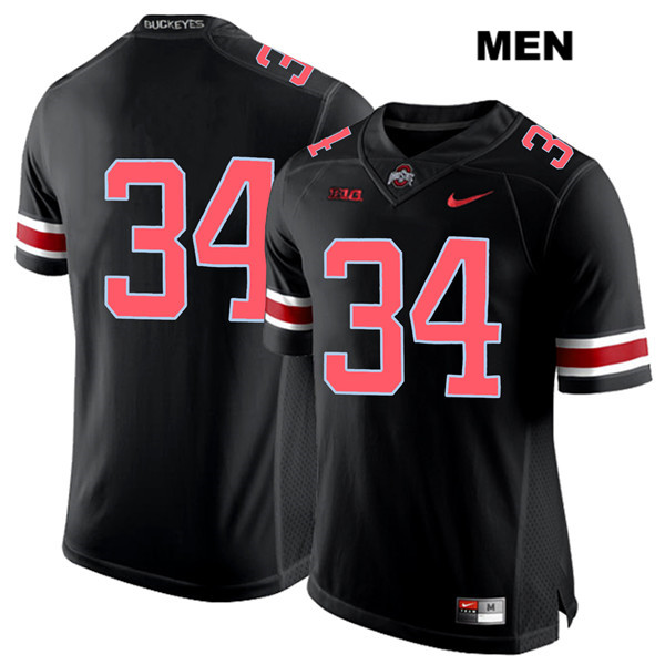 Mitch Rossi Nike Stitched Mens Black Ohio State Buckeyes Authentic Red Font no. 34 College Football Jersey - Without Name - Mitch Rossi Jersey