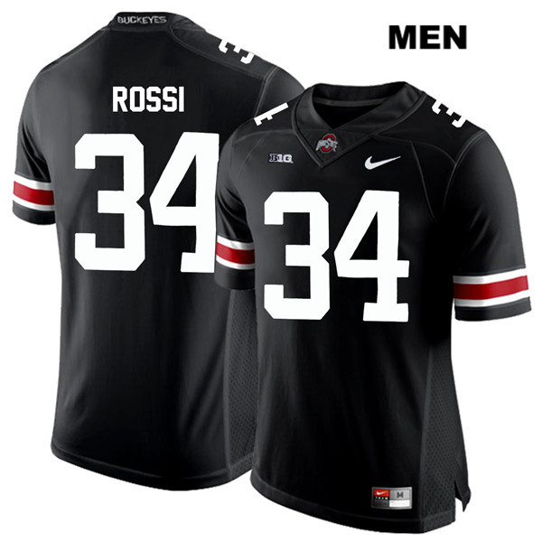 Mitch Rossi Nike Mens White Font Black Ohio State Buckeyes Authentic Stitched no. 34 College Football Jersey - Mitch Rossi Jersey