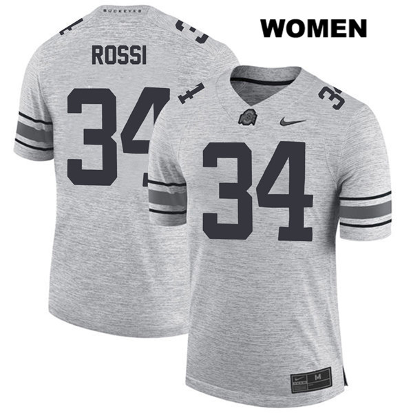 Mitch Rossi Womens Nike Gray Ohio State Buckeyes Authentic Stitched no. 34 College Football Jersey - Mitch Rossi Jersey