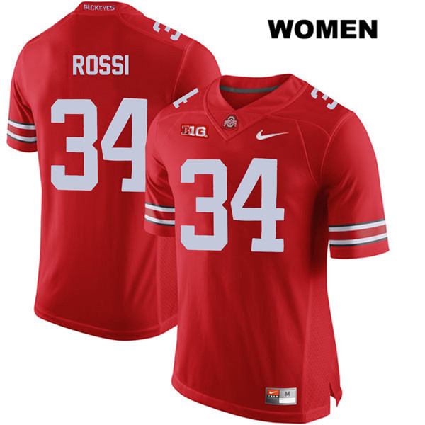 Mitch Rossi Womens Stitched Red Ohio State Buckeyes Authentic Nike no. 34 College Football Jersey - Mitch Rossi Jersey