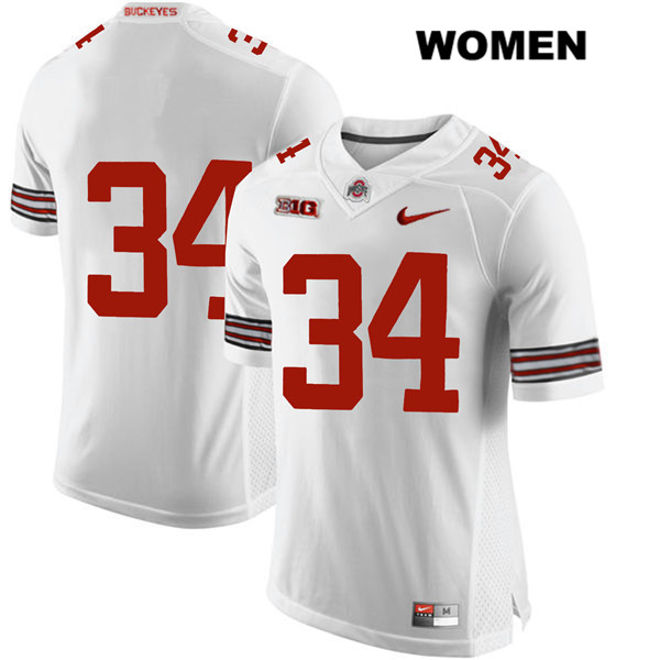 Mitch Rossi Womens Nike White Ohio State Buckeyes Authentic Stitched no. 34 College Football Jersey - Without Name - Mitch Rossi Jersey