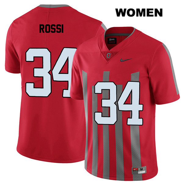 Mitch Rossi Elite Womens Nike Red Stitched Ohio State Buckeyes Authentic no. 34 College Football Jersey - Mitch Rossi Jersey