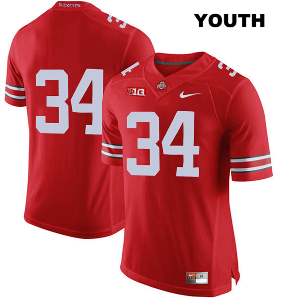 Mitch Rossi Youth Stitched Red Ohio State Buckeyes Nike Authentic no. 34 College Football Jersey - Without Name - Mitch Rossi Jersey