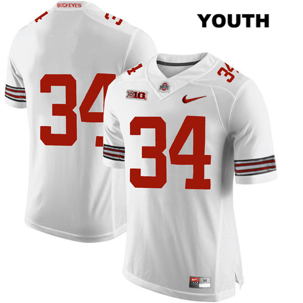 Mitch Rossi Youth White Ohio State Buckeyes Stitched Authentic Nike no. 34 College Football Jersey - Without Name - Mitch Rossi Jersey