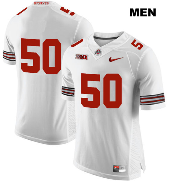 Nathan Brock Mens Stitched White Nike Ohio State Buckeyes Authentic no. 50 College Football Jersey - Without Name - Nathan Brock Jersey
