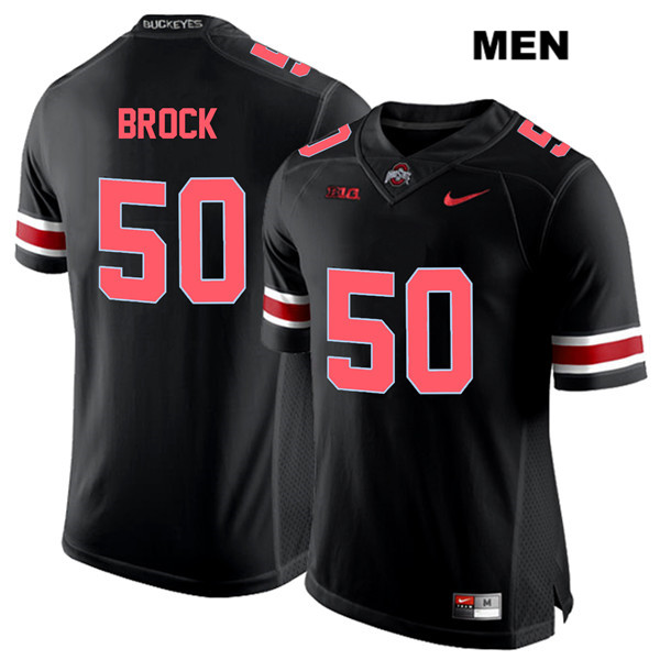 Nathan Brock Red Font Mens Black Stitched Ohio State Buckeyes Nike Authentic no. 50 College Football Jersey - Nathan Brock Jersey