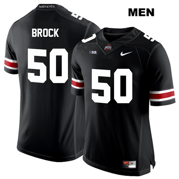 Nathan Brock Nike Mens Black Stitched Ohio State Buckeyes White Font Authentic no. 50 College Football Jersey - Nathan Brock Jersey