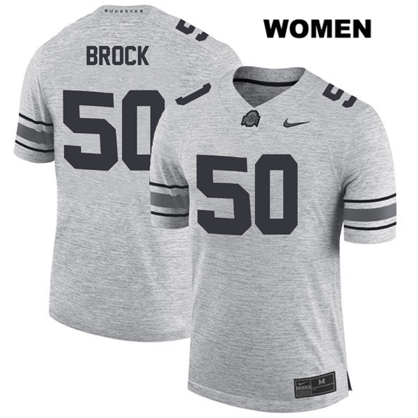 Nathan Brock Womens Gray Stitched Nike Ohio State Buckeyes Authentic no. 50 College Football Jersey - Nathan Brock Jersey