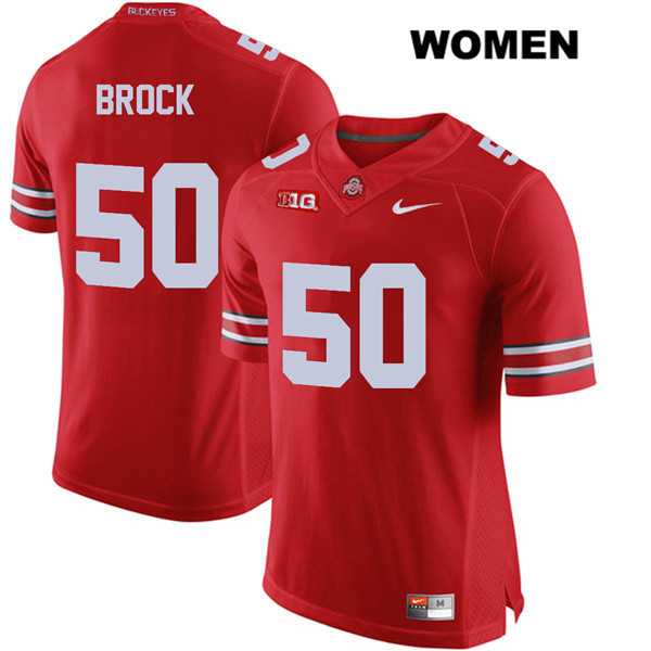 Nathan Brock Womens Red Ohio State Buckeyes Stitched Authentic Nike no. 50 College Football Jersey - Nathan Brock Jersey